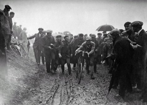 1929 mud. The bikes had no derailleurs and had to change wheels at the bottom of the big climbs