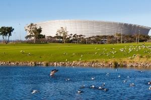 Stadium across the waters
